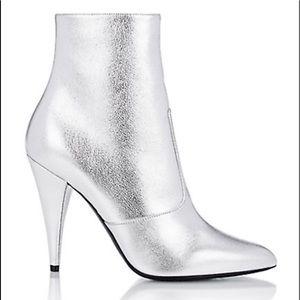 Saint Laurent Fetish Ankle Boots Silver 105mm NEW